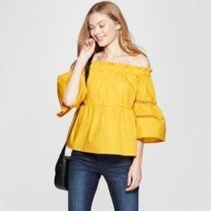 Yellow off shoulder 3/4 sleeve top